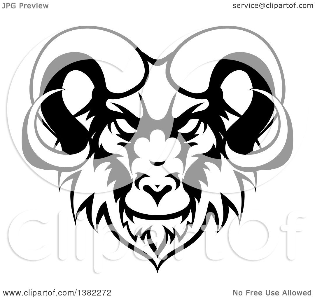 Clipart of a Black and White Ram Head Mascot - Royalty ...