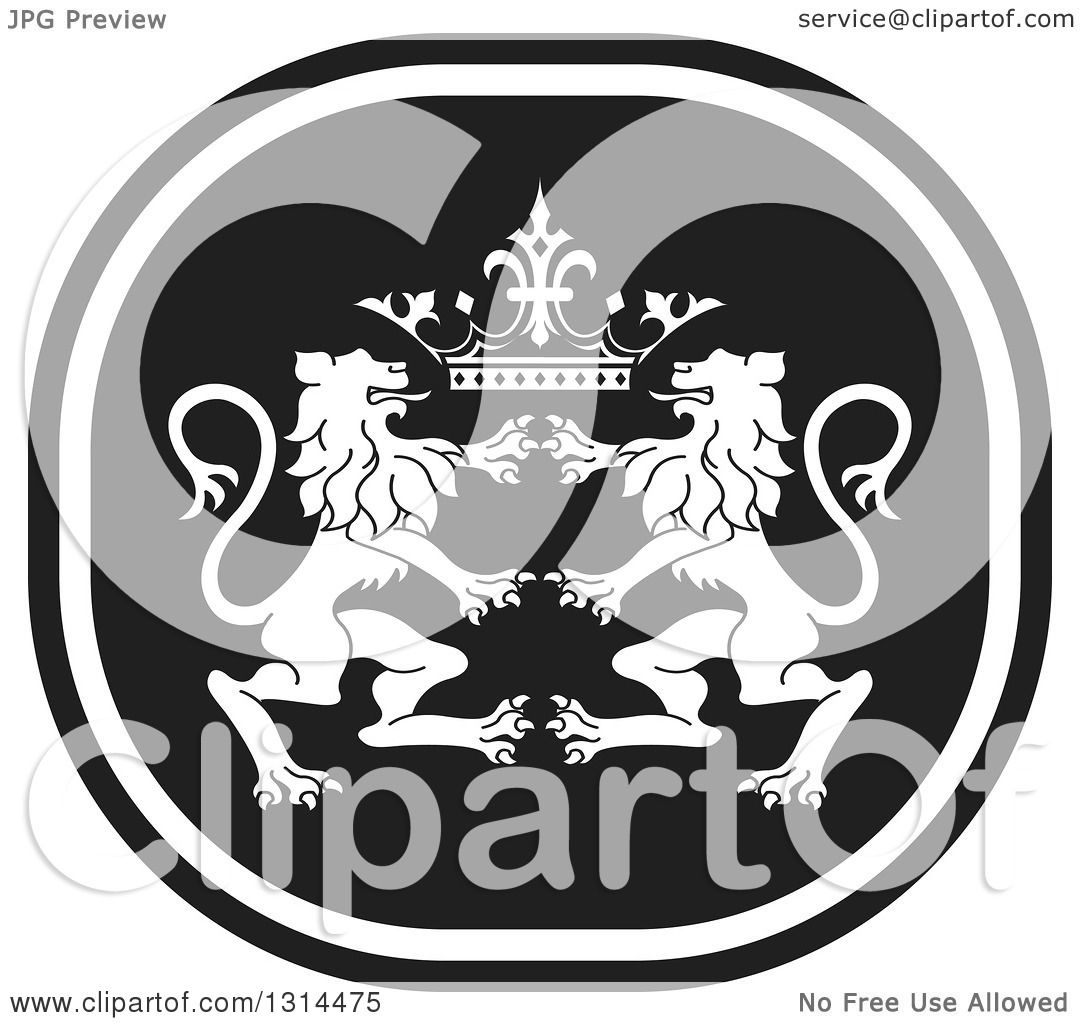 Clipart of a Black and White Rampant Male Lion and Crown Icon ...