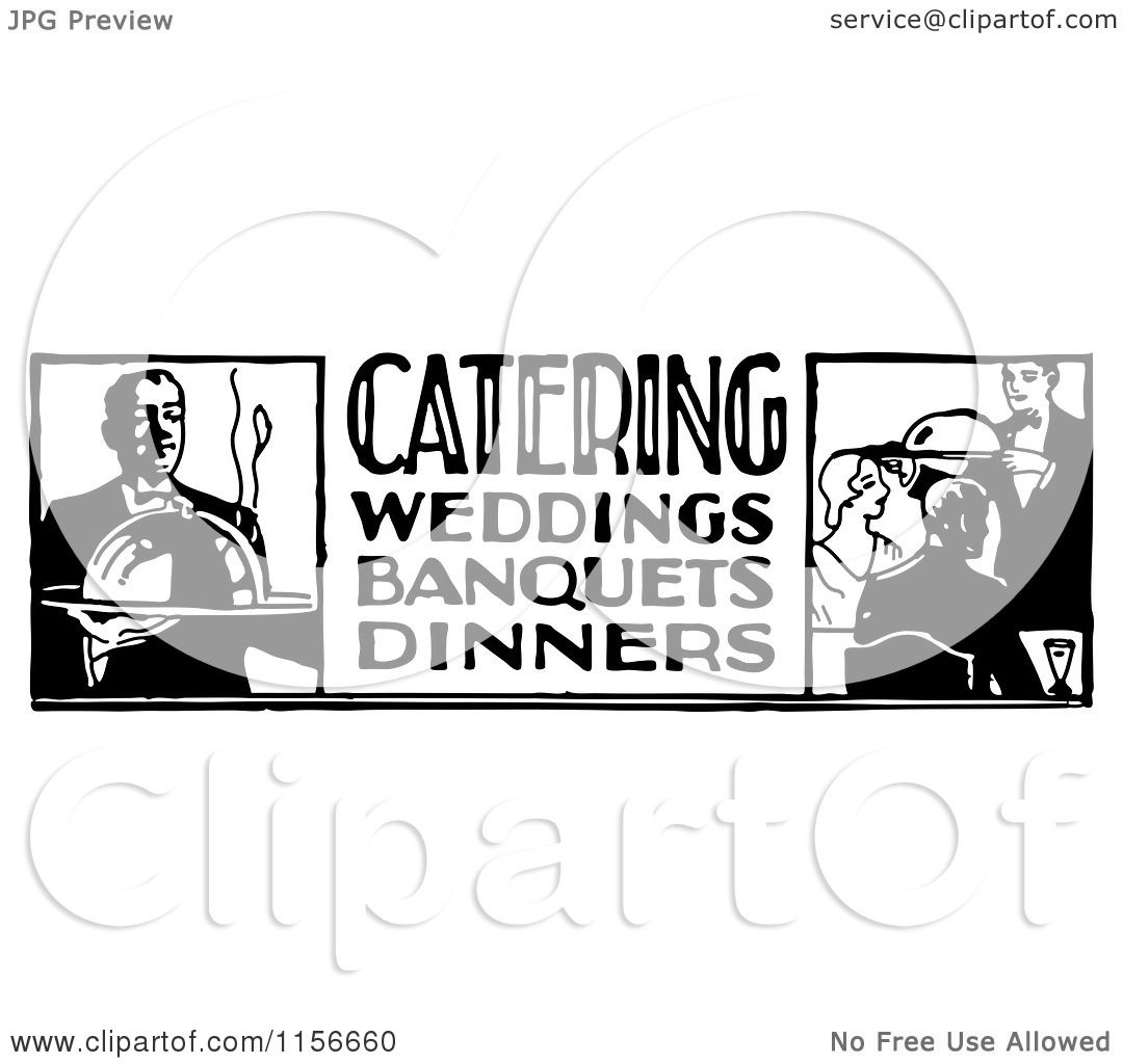Clipart Of A Black And White Retro Catering Food Service Sign regarding Food Service Clipart Free