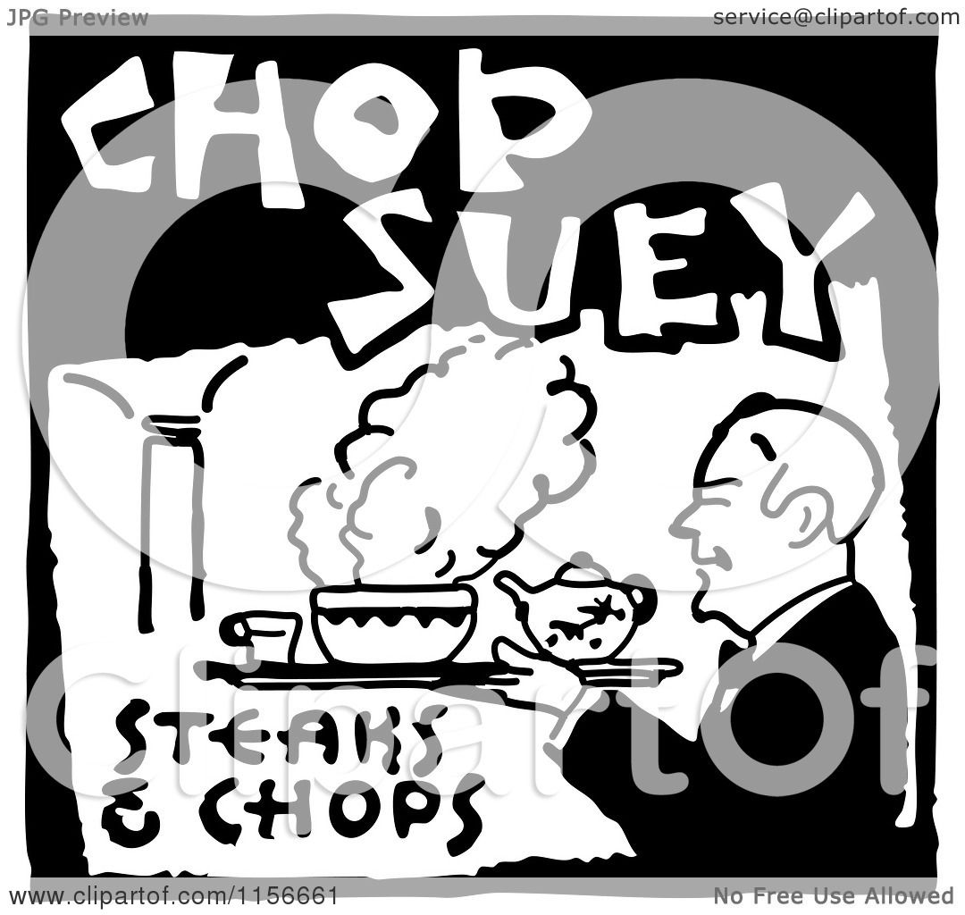 Clipart of a Black and White Retro Chop Suey Steaks and Chops Food ...