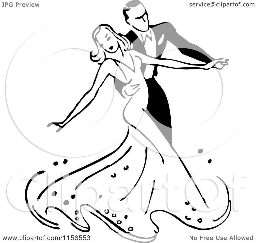 Clipart of a Black and White Retro Couple Ballroom Dancing 2 - Royalty ...
