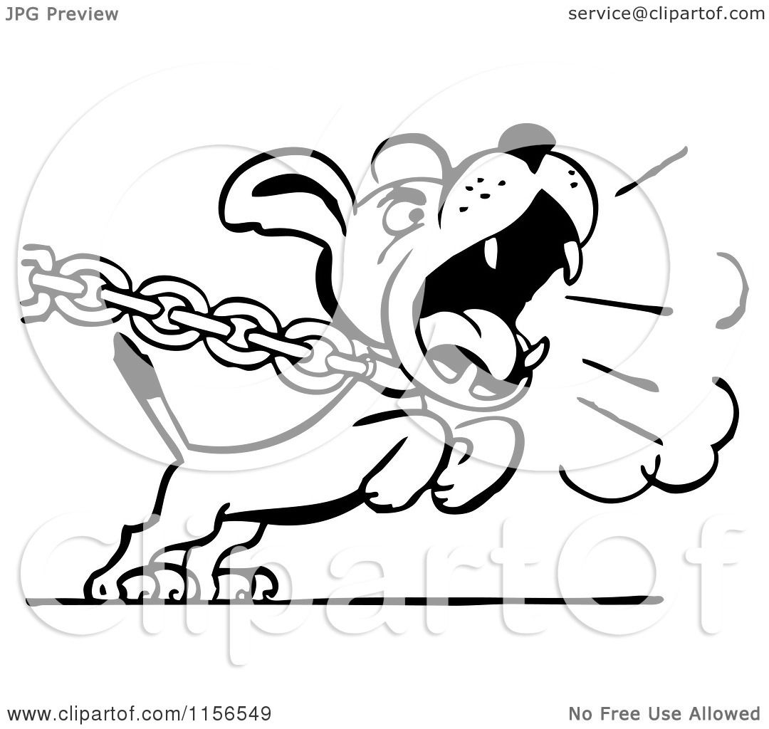 clipart of a black and white retro dog barking and pulling