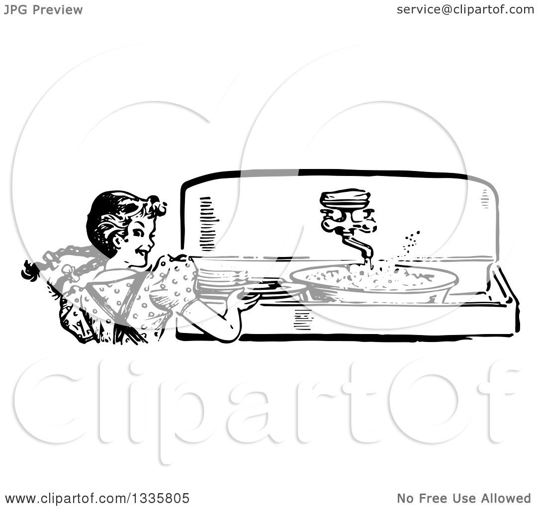 Best Washing Dishes Illustrations Royalty Free Vector: Clipart Of A Black And White Retro Happy Girl Looking Back