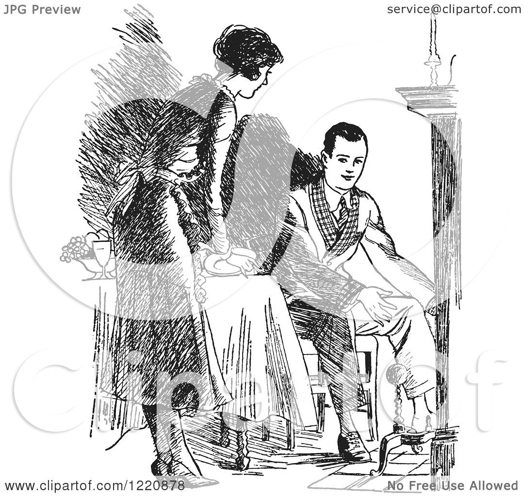 fireside girls coloring pages | Clipart of a Black and White Retro Housewife Setting a ...
