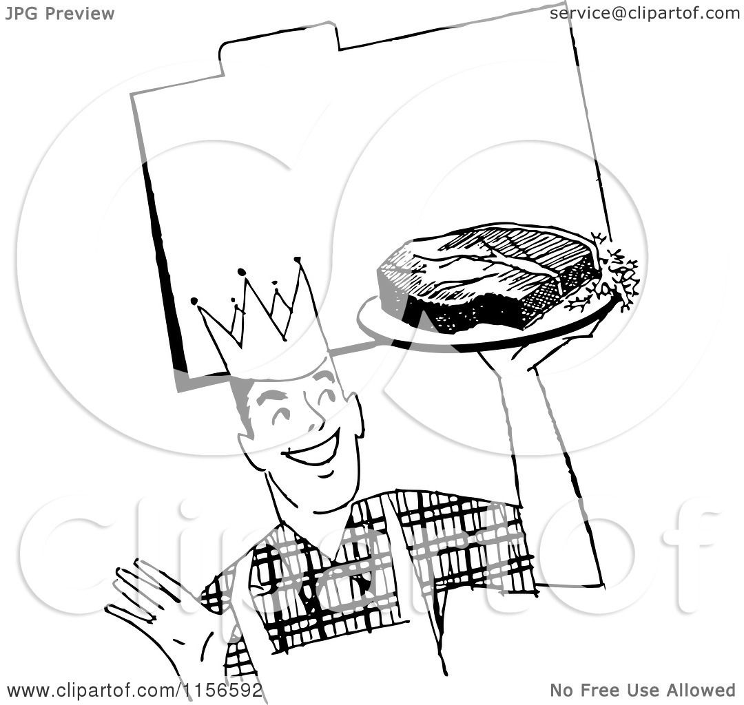 Clipart Of A Black And White Retro Male Chef With Steak Over Recipe Card