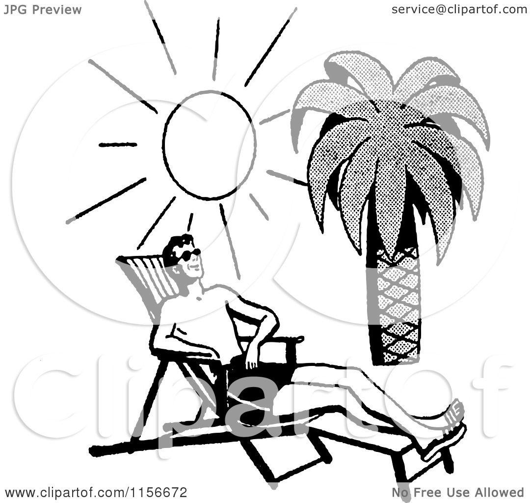 Retro Beach Illustration Royalty Free Stock Photo: Clipart Of A Black And White Retro Man Sun Bathing On A