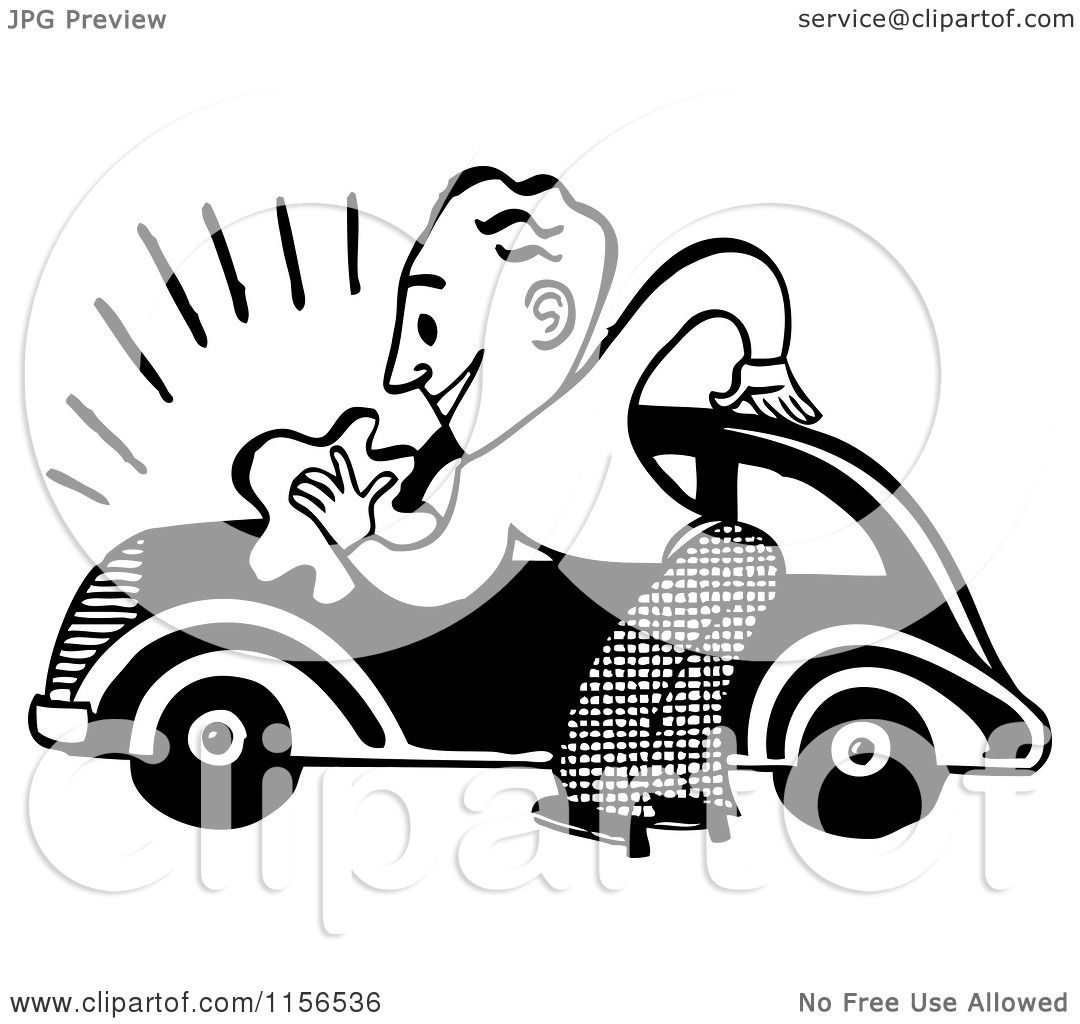 Clipart of a Black and White Retro Man Washing a Car - Royalty ...