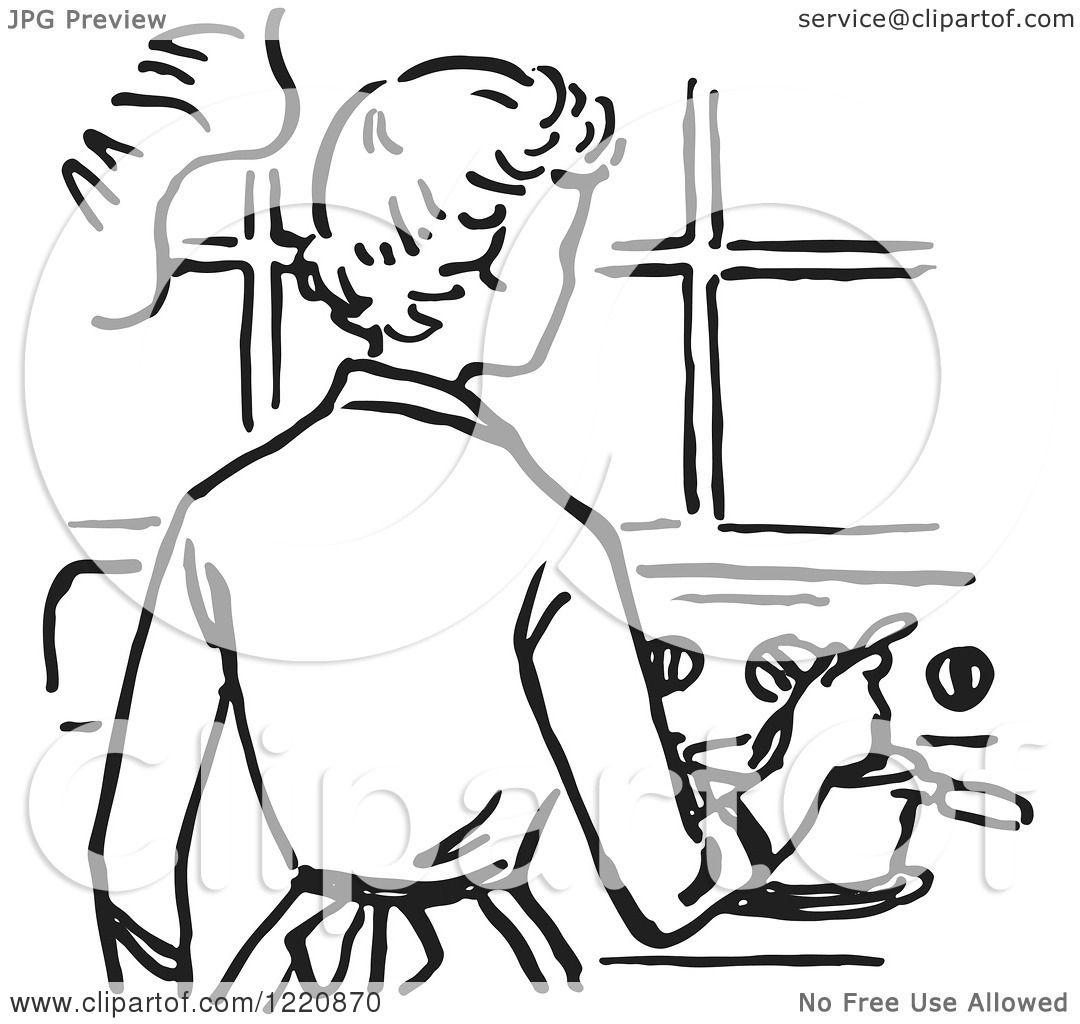 Clipart of a Black and White Retro Mother Cooking on a ...