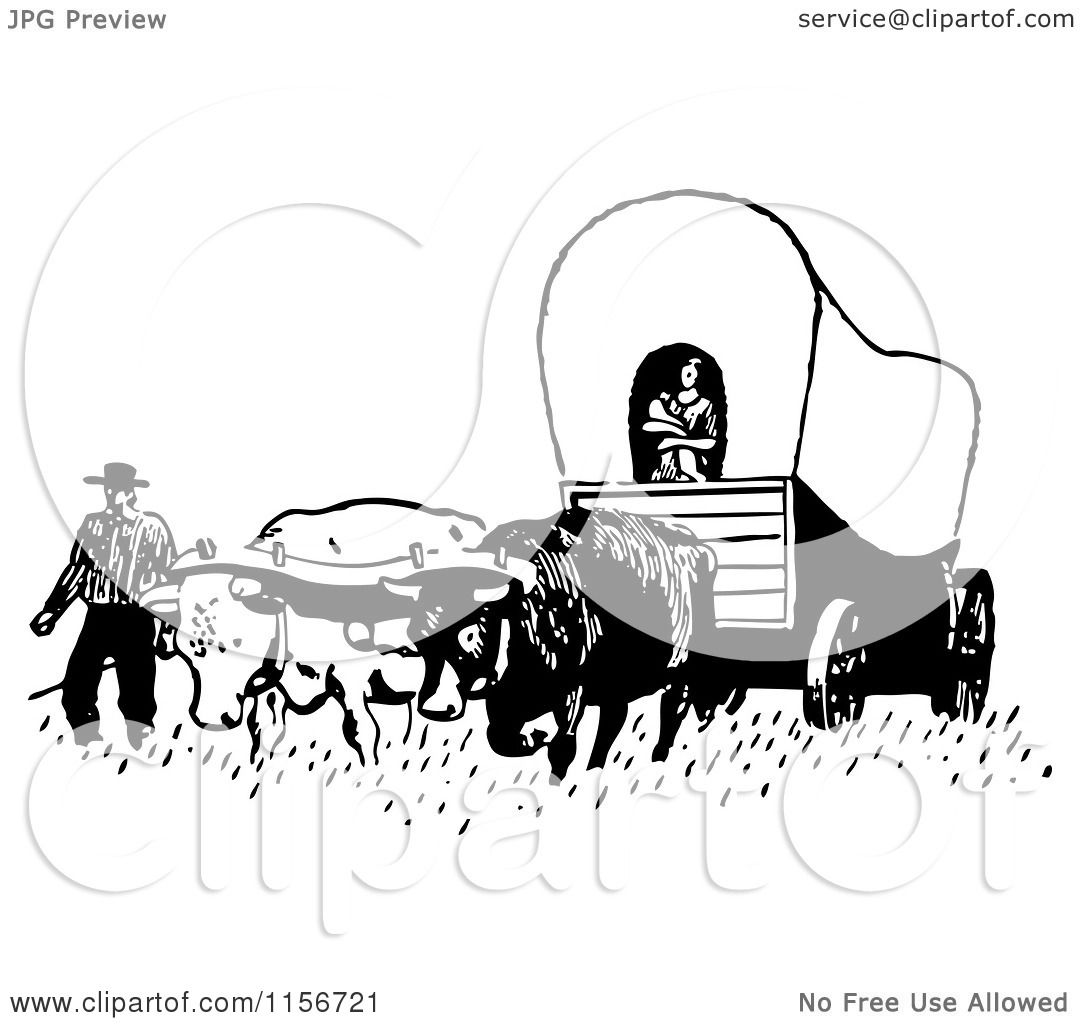 Clipart of a Black and White Retro Pioneer Covered Wagon - Royalty ...