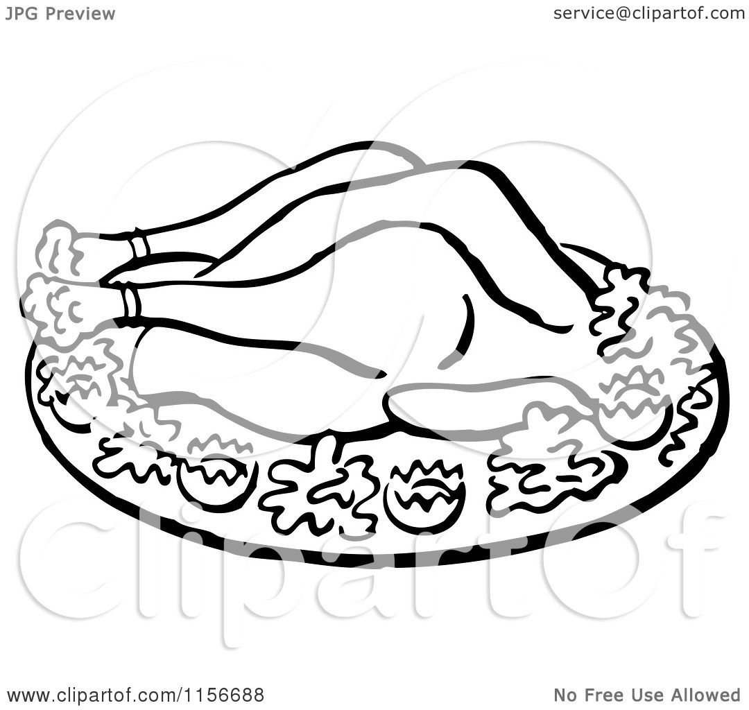 Roast chicken clipart black and white - photo#15
