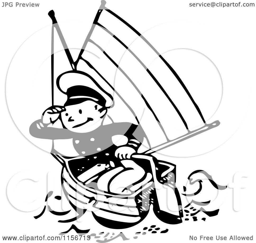 clipart of a black and white retro sailor in a boat royalty free