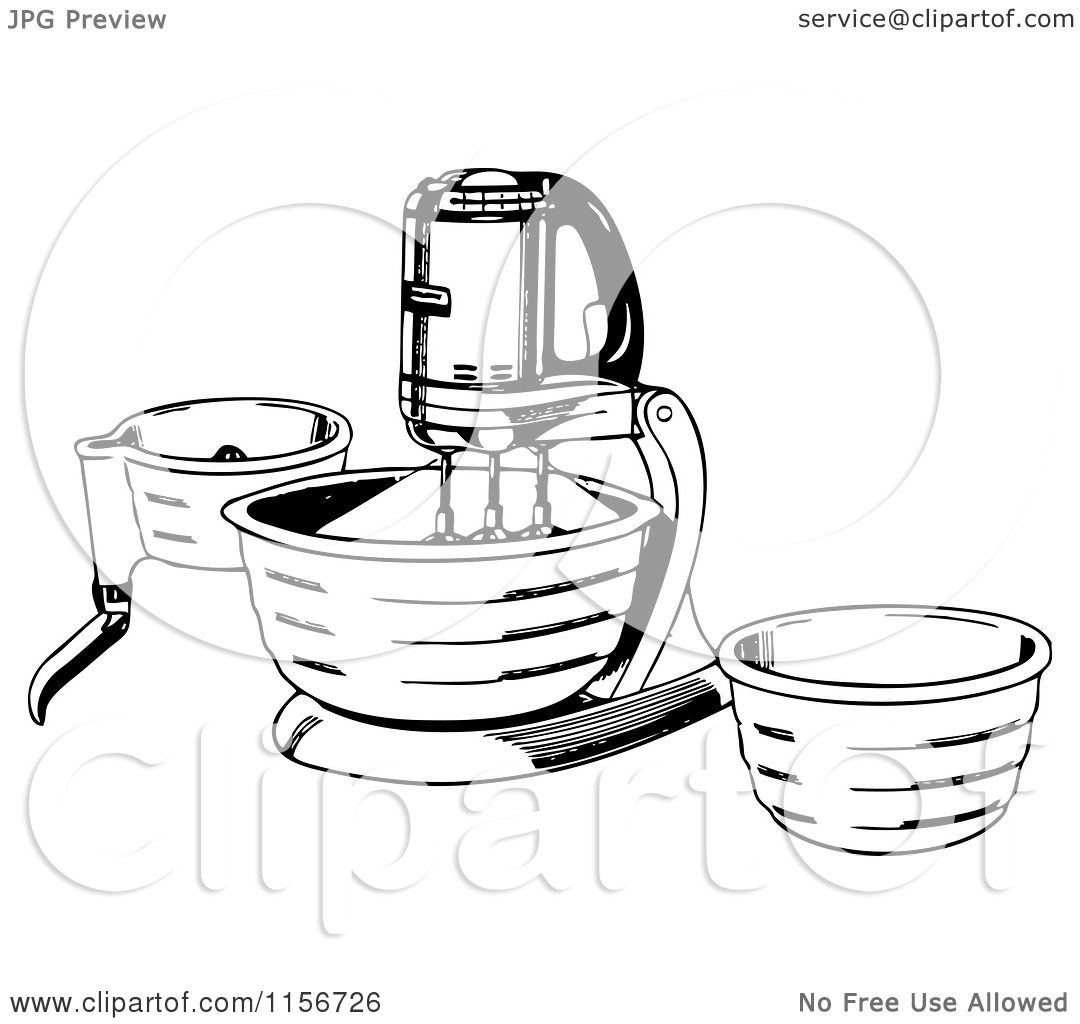 Mixer Clip Art ~ Clipart of a black and white retro stand mixer royalty