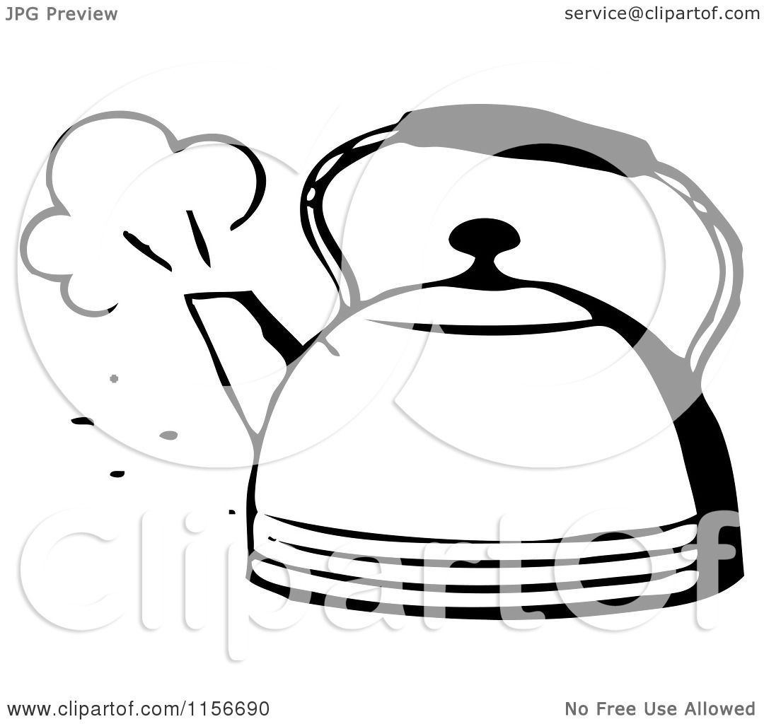 Kettle Steam Clipart ... Black and White Re...