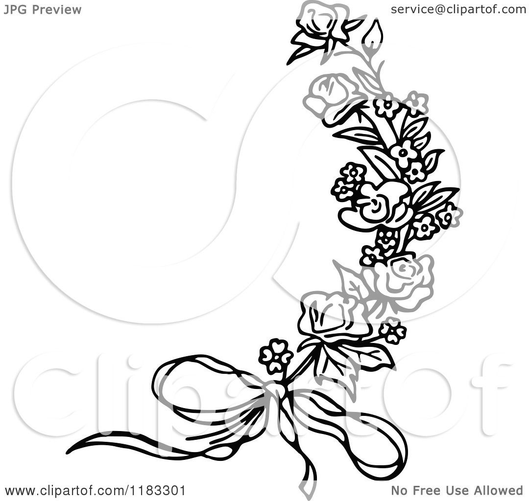 Clipart of a Black and White Rose Sprig and Bow - Royalty Free ...