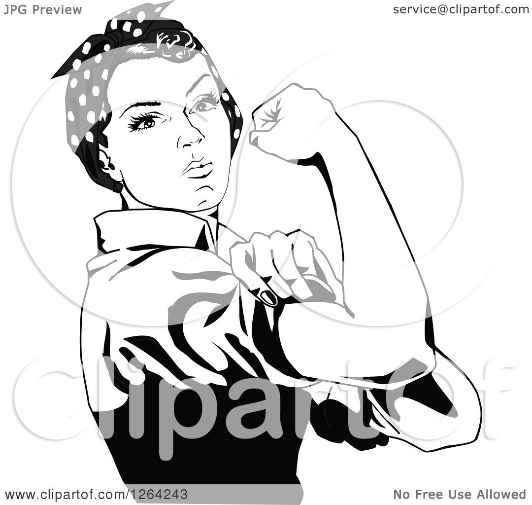 Clipart Of A Black And White Rosie The Riveter Flexing And