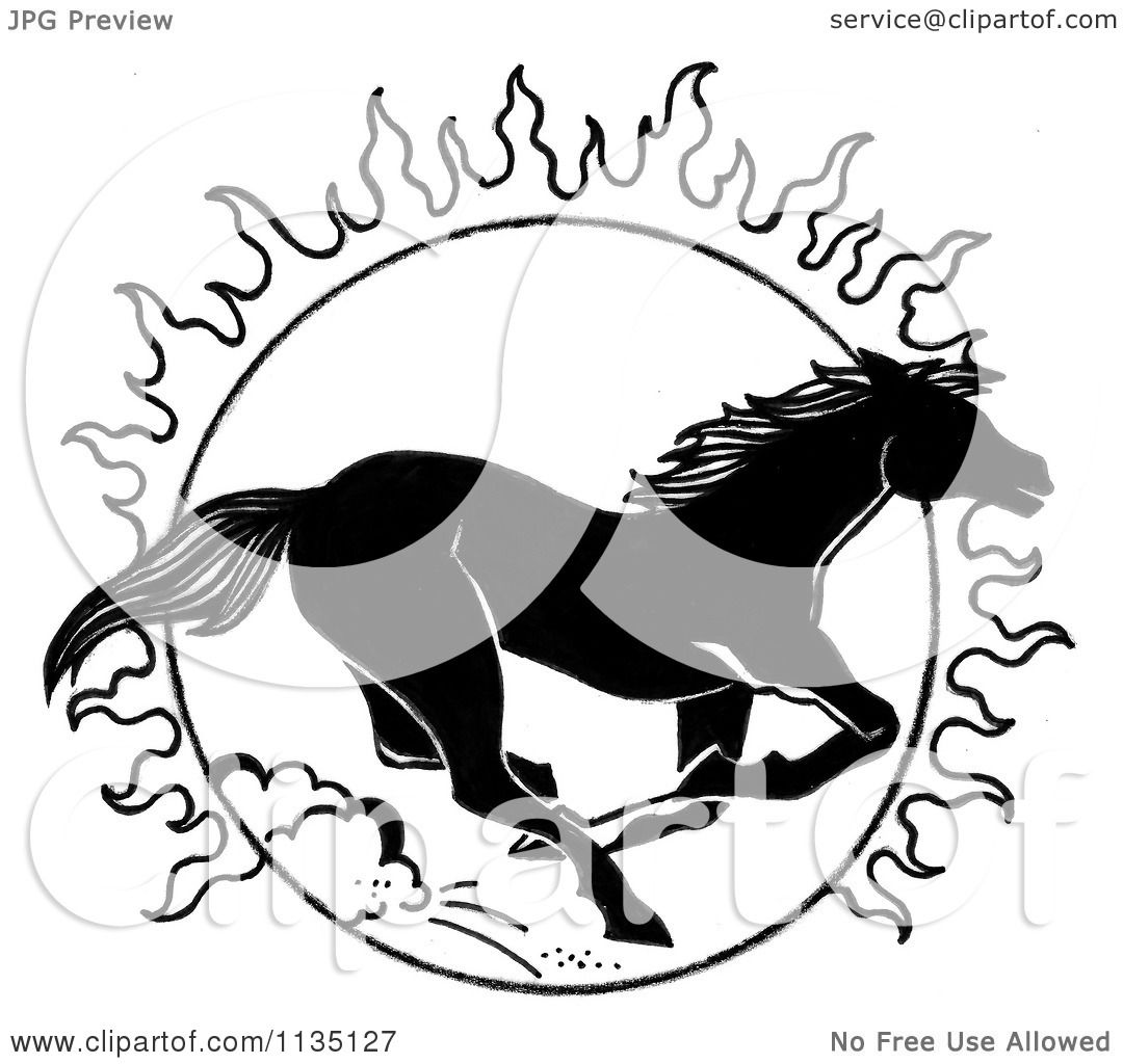 Running Horse Clipart Black And White Clipart of a Black And White