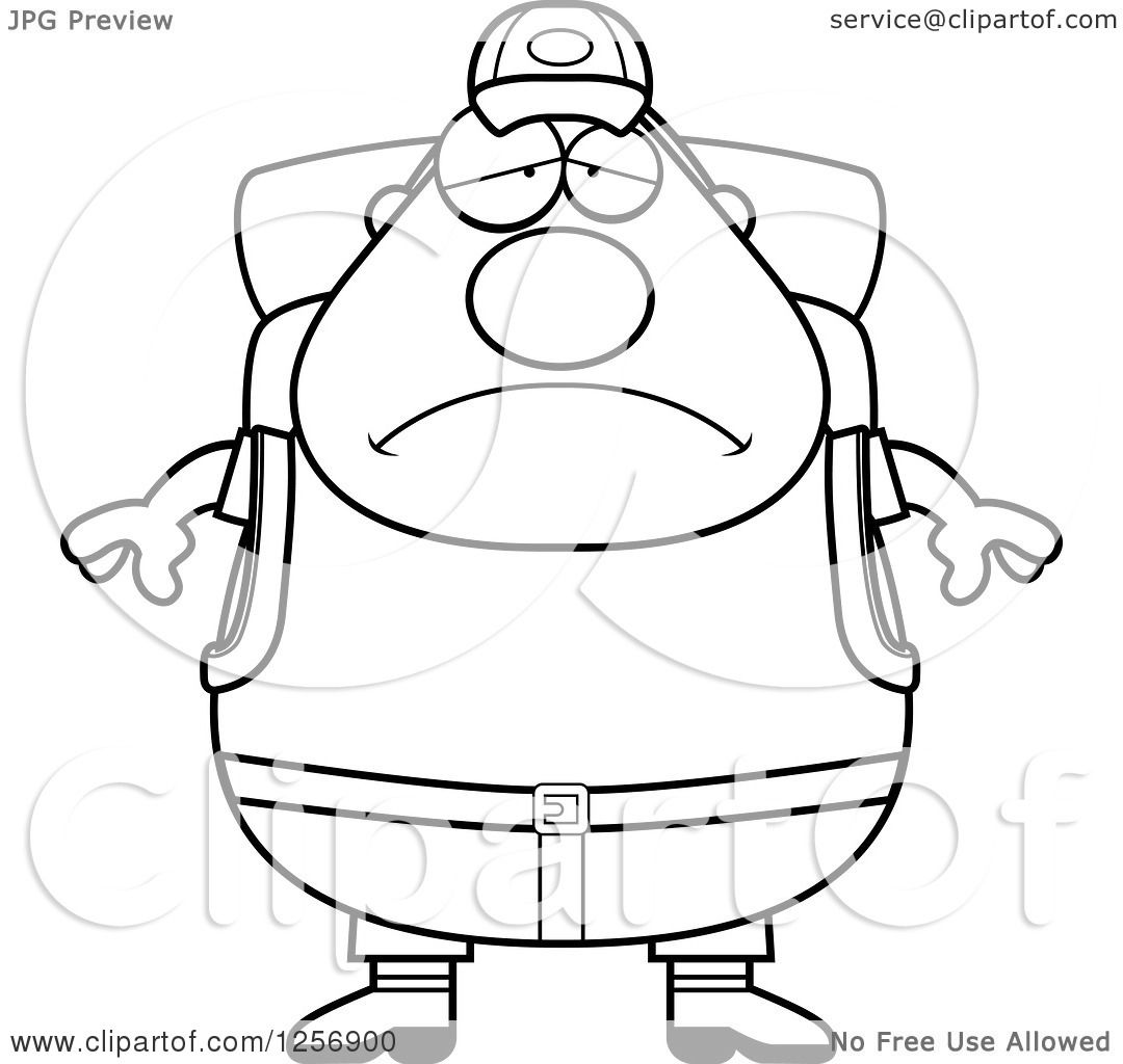 Clipart Of A Black And White Sad Depressed Chubby Hiker Man With Camping Gear