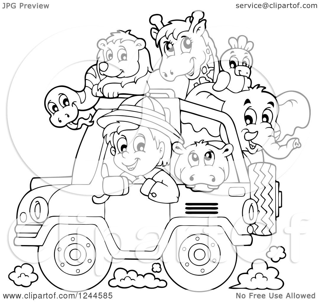 Free coloring page jeep - Clipart Of A Black And White Safari Boy Driving A Jeep Full Of Animals Royalty Free Vector Illustration By Visekart