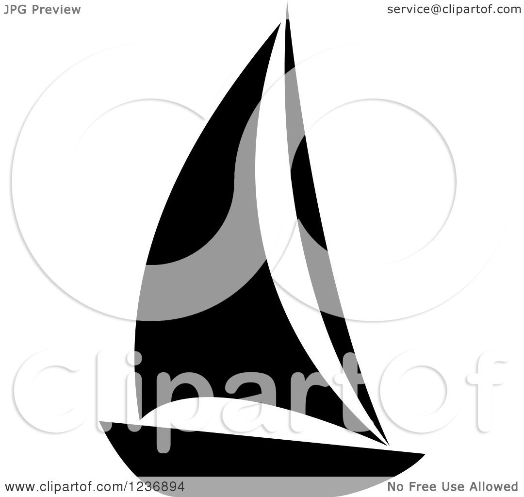 Clipart Of A Black And White Sailboat Icon