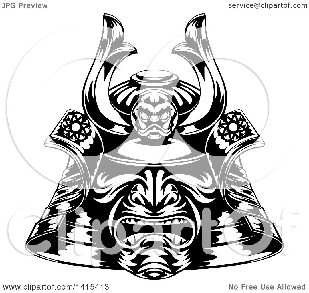 Clipart Of A Black And White Samurai Mask Royalty Free