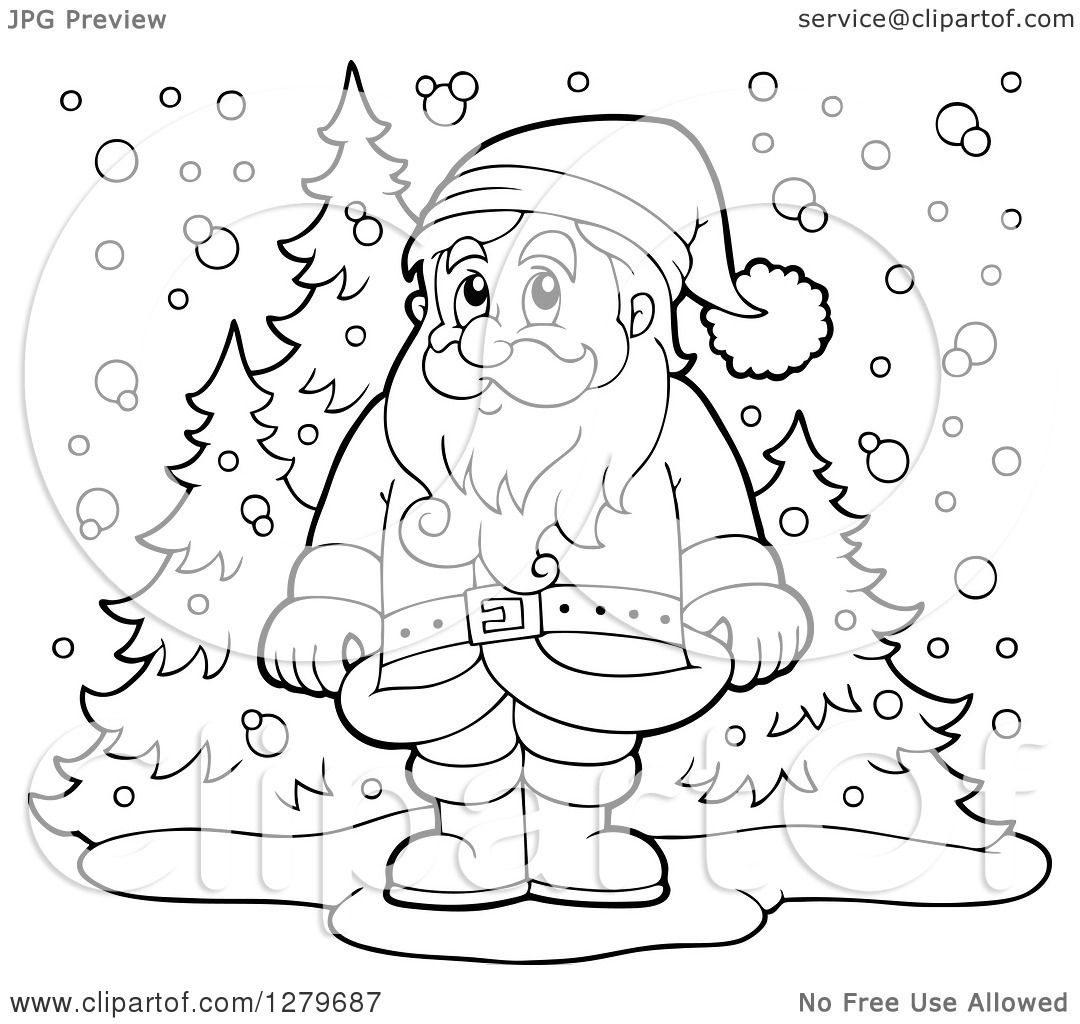 clipart of a black and white santa claus standing in a snowy forest winter landscape royalty free vector illustration by visekart - White Santa Claus