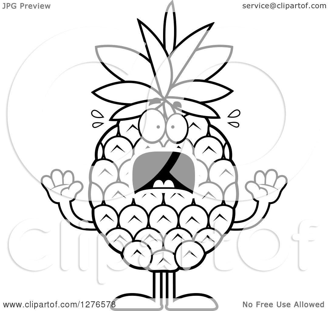 Clipart of a Black and White Scared Screaming Pineapple Character ... for Clipart Pineapple Black And White  131fsj
