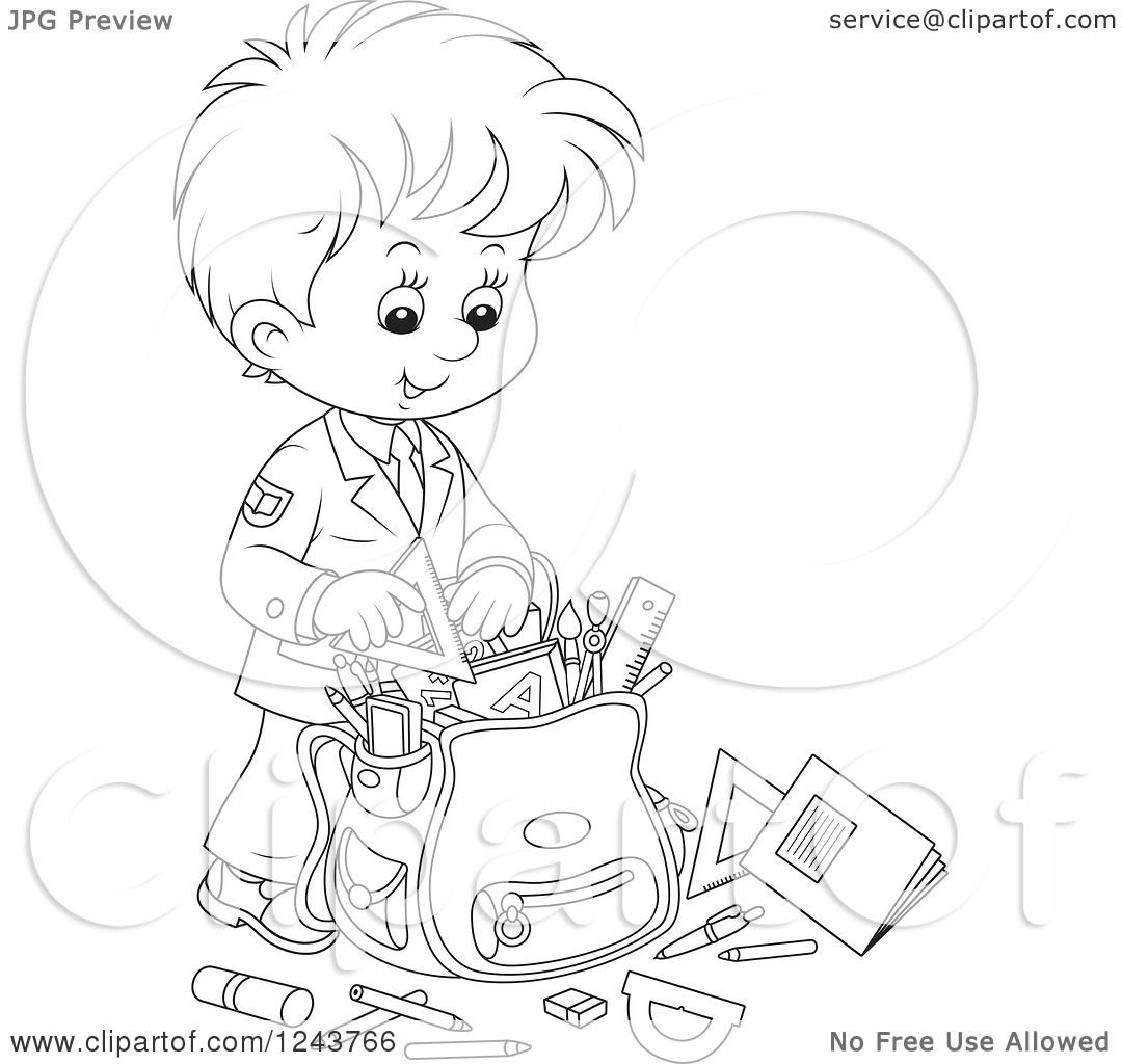 Clipart of a Black and White School Boy Packing Supplies ...