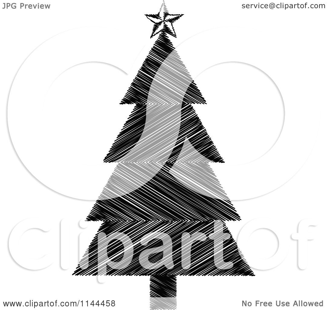 clipart of a black and white scribble christmas tree royalty