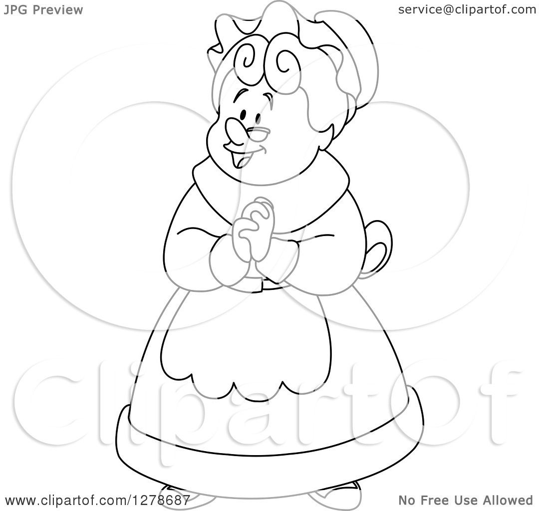 clipart of a black and white senior woman or mrs claus clasping