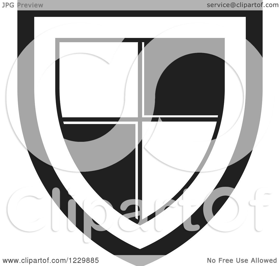 Clipart of a Black and White Shield Icon - Royalty Free Vector ...