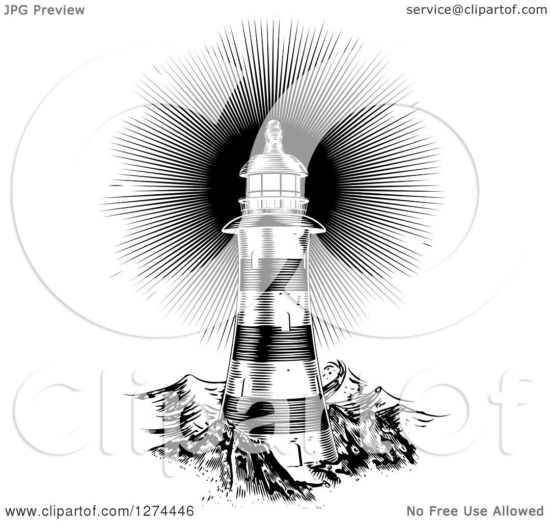 Clipart of a Black and White Shining Engraved Lighthouse ...