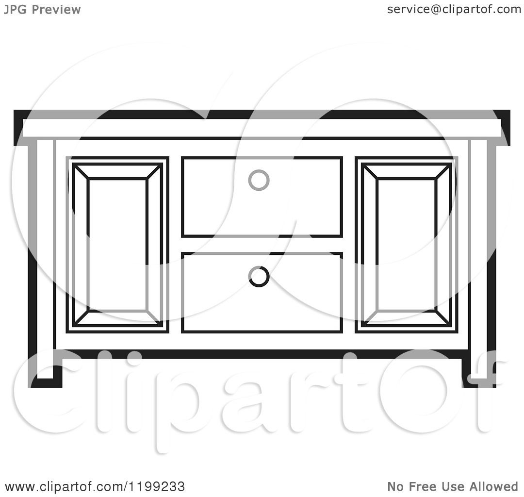 Kitchen Door Clip Art: Clipart Of A Black And White Sideboard Cabinet