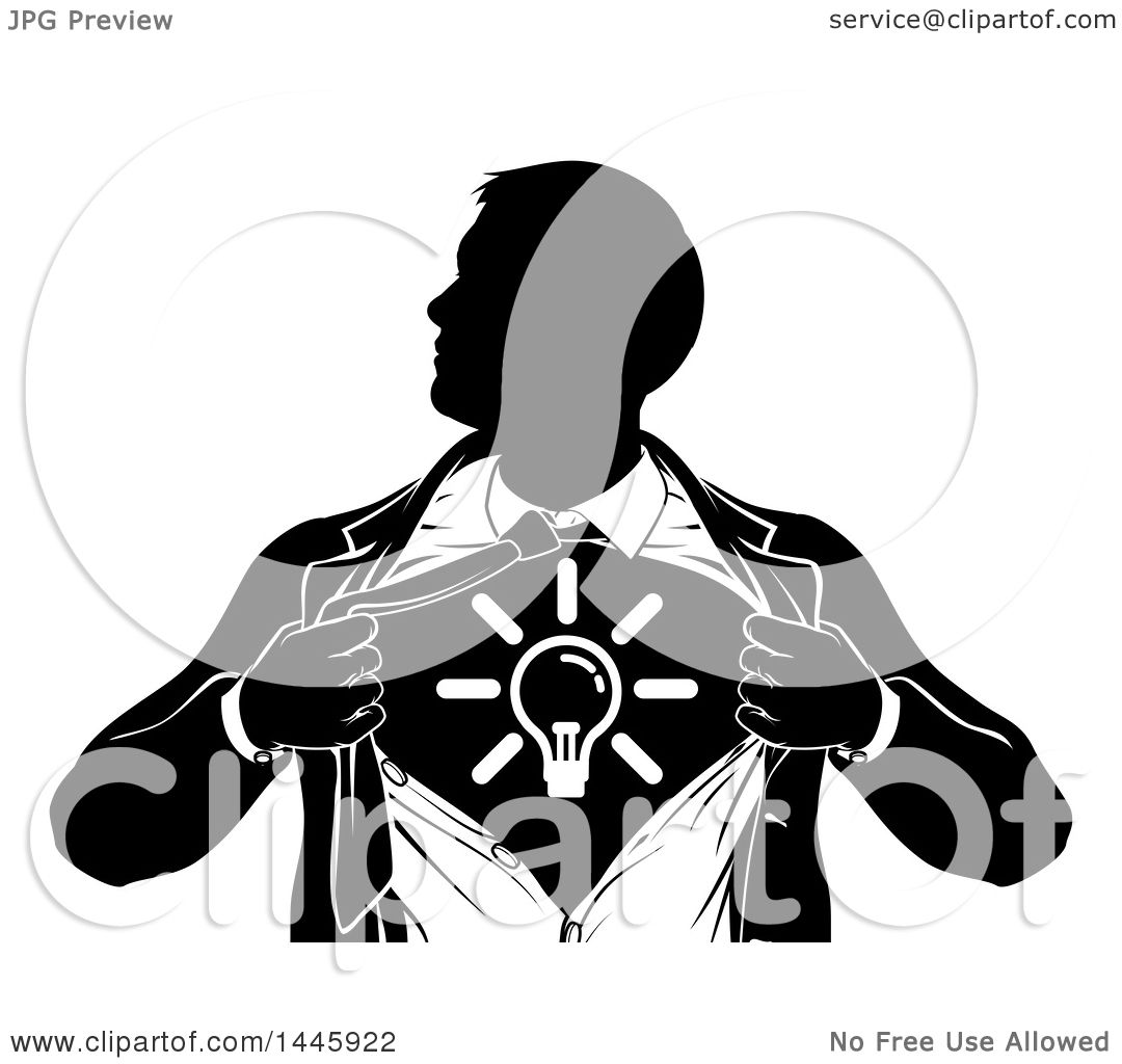 Clipart Of A Black And White Silhouetted Creative Super