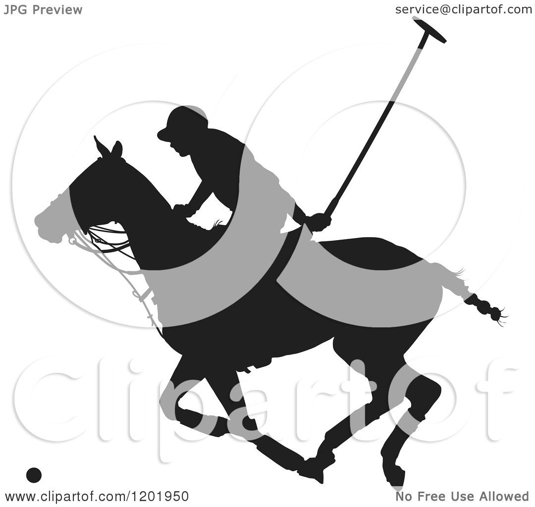 Clipart of a black and white silhouetted horseback polo - Clipart illustration ...