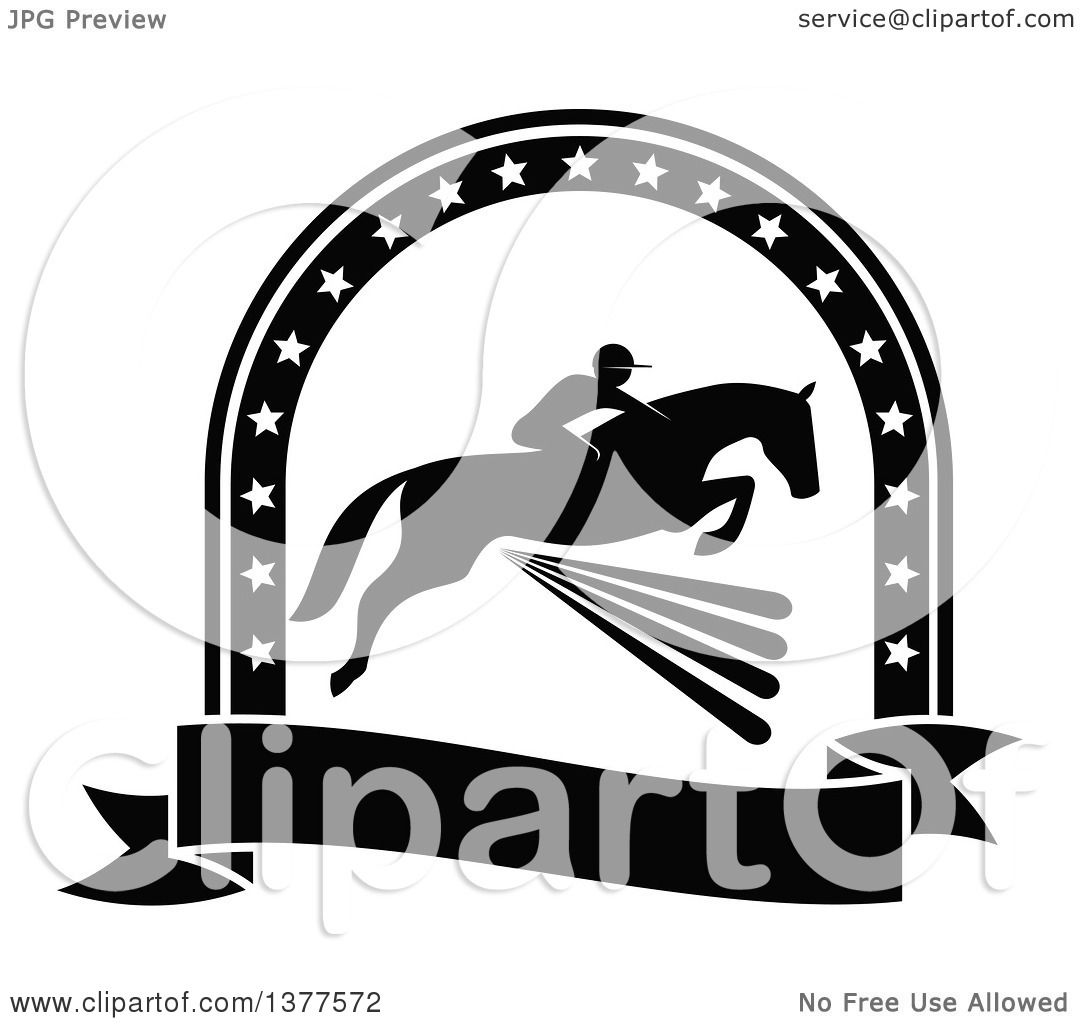 Clipart of a Black and White Silhouetted Rider on a Horse ...