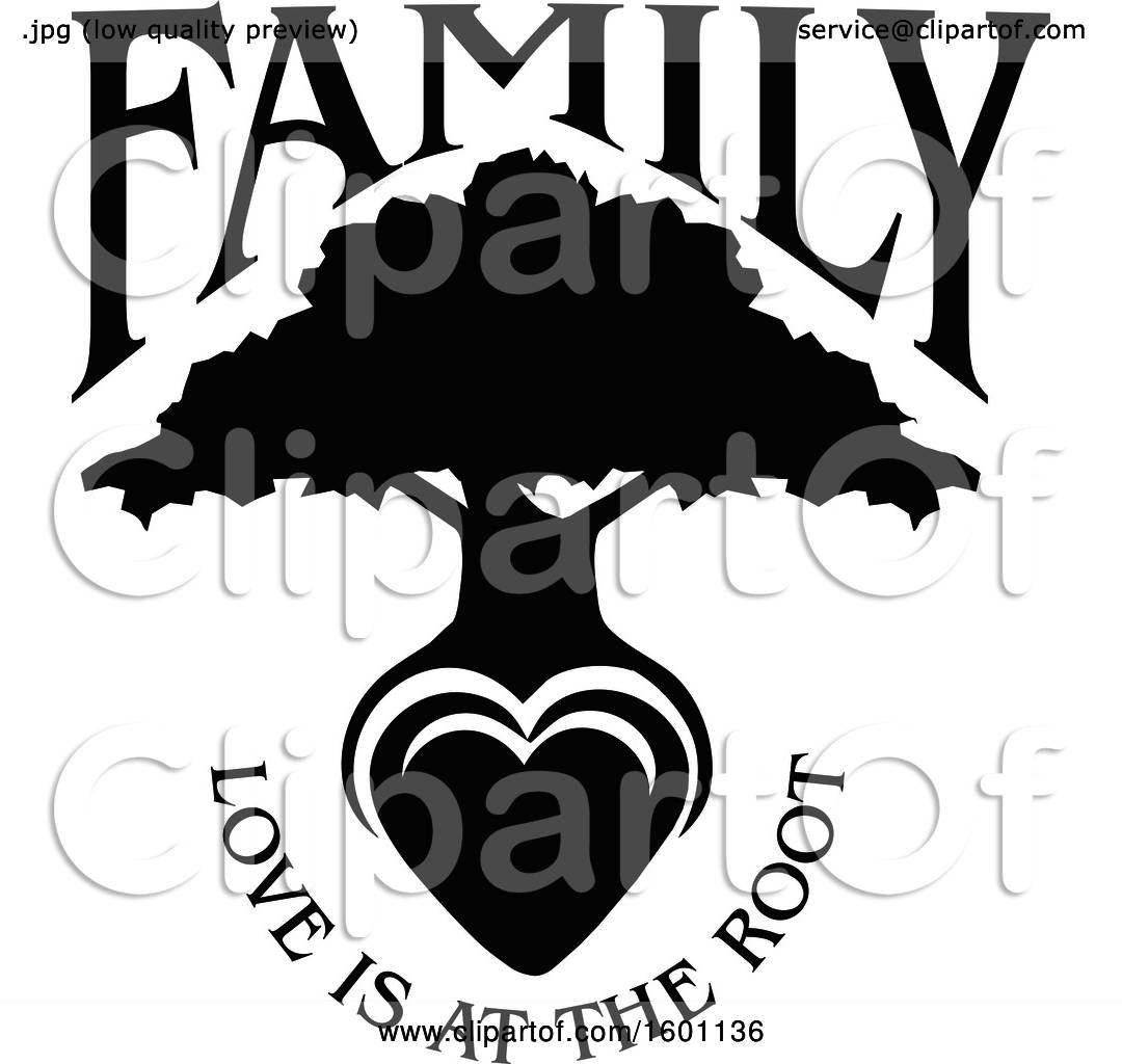 Clipart of a Black and White Silhouetted Tree with a Heart ...