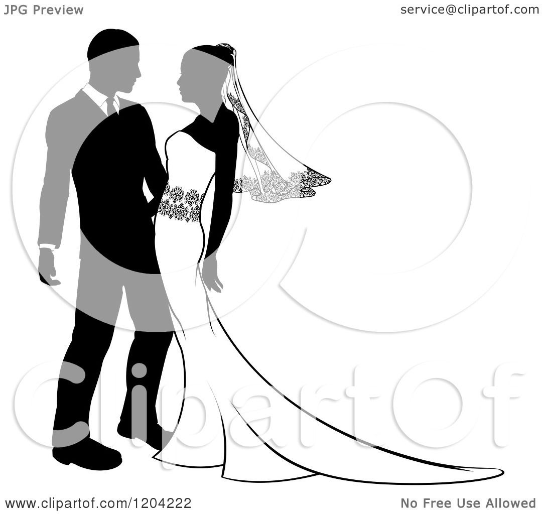 Clipart of a black and white silhouetted wedding couple - Clipart illustration ...