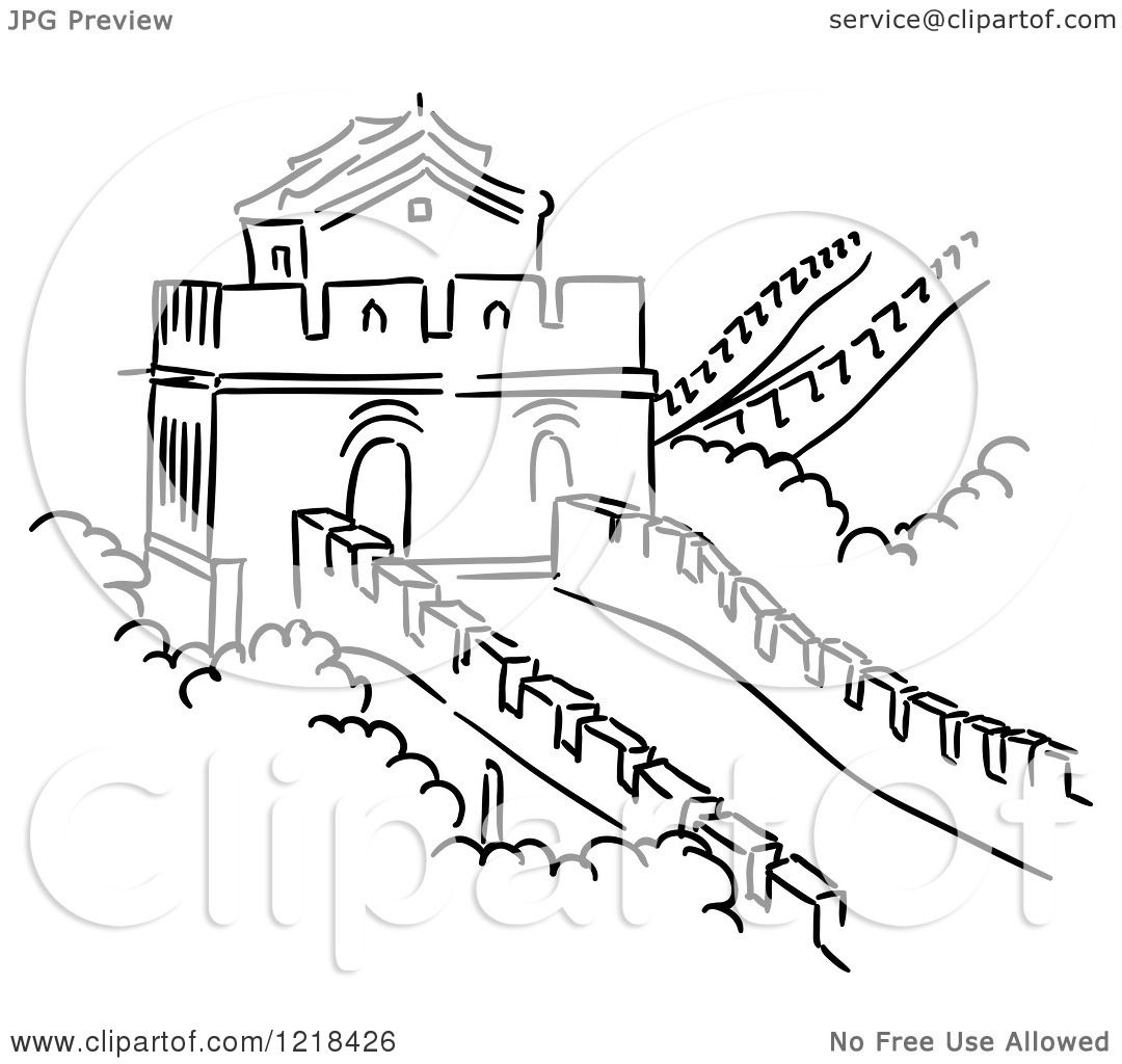 Clipart of a Black and White Sketch of the Great Wall of ...