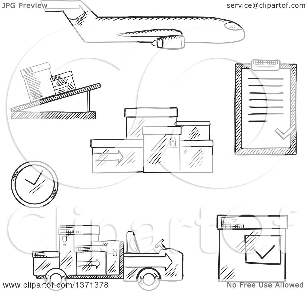Clipart of a Black and White Sketched Airplane, Conveyor