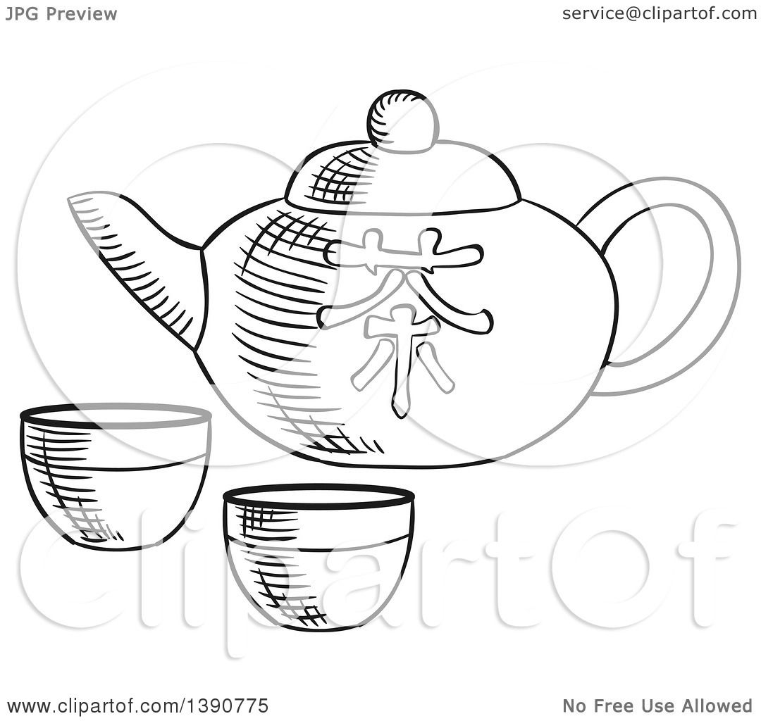 Tea Rose Clipart Black And White: Clipart Of A Black And White Sketched Asian Tea Pot And