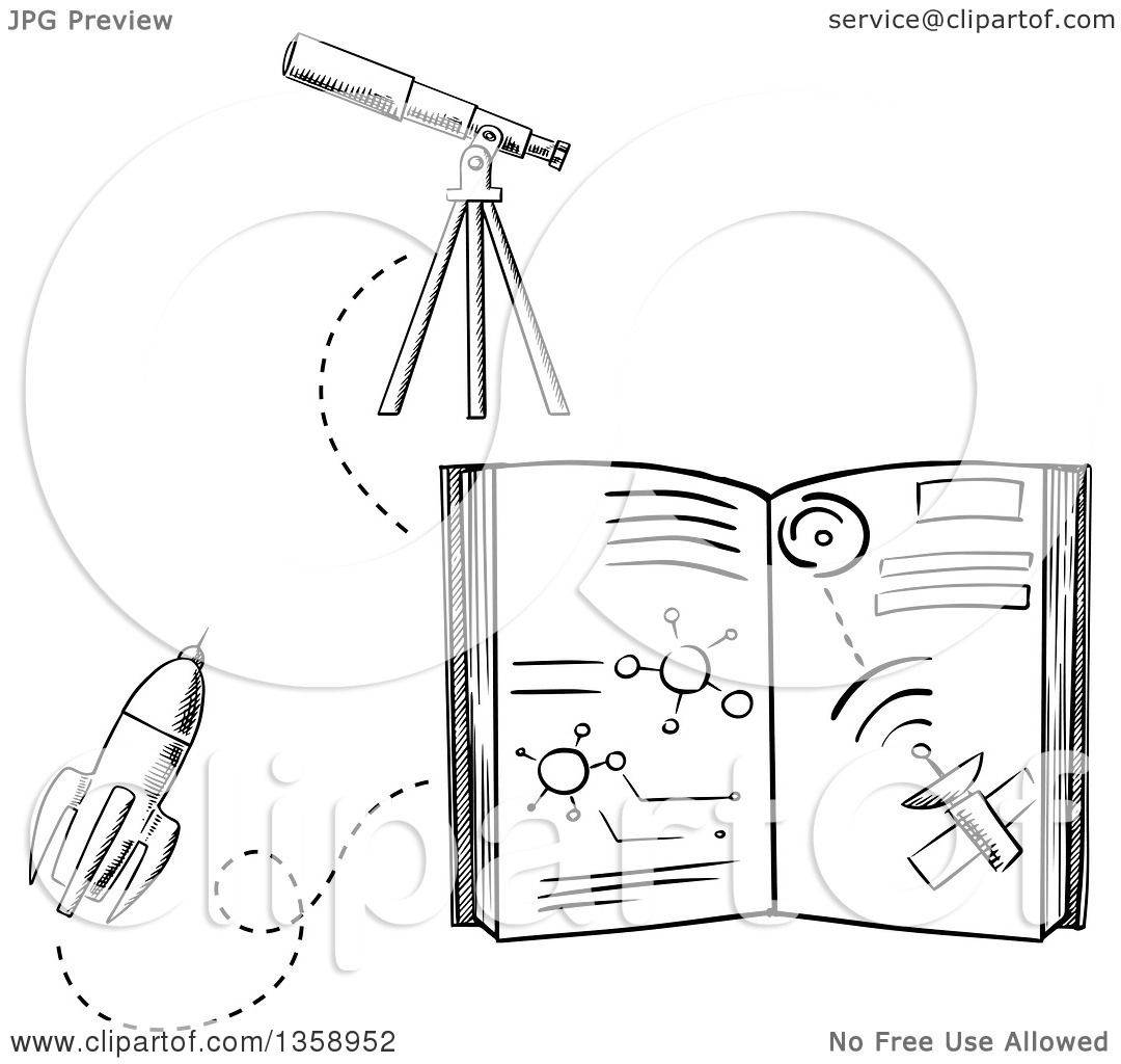 Clipart Of A Black And White Sketched Astronomy Book Rocket Telescope