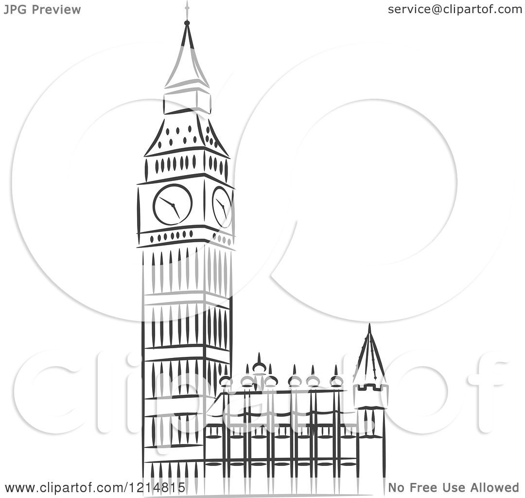 Clipart of a Black and White Sketched Big Ben Clock Tower ... | 1080 x 1024 jpeg 76kB