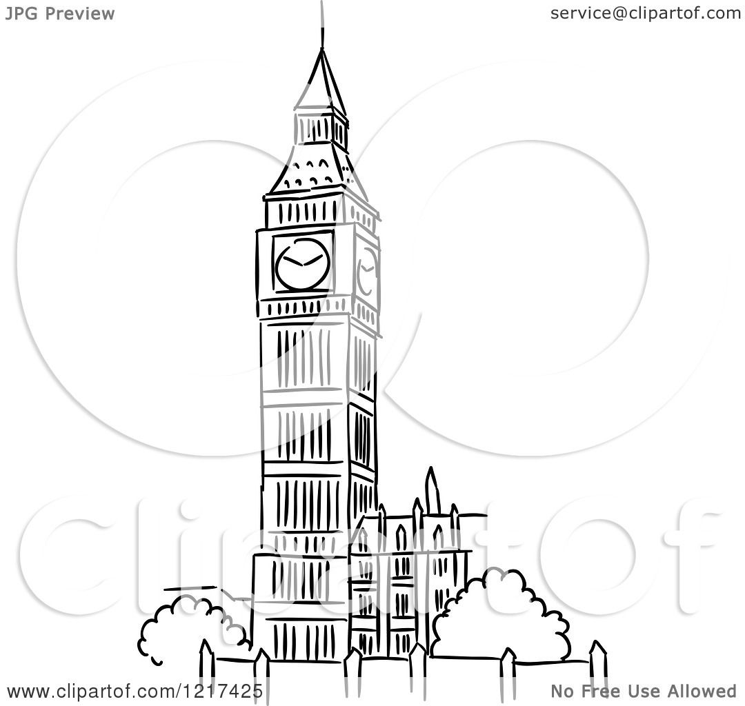 Clipart of a Black and White Sketched Big Ben Clock Tower ...