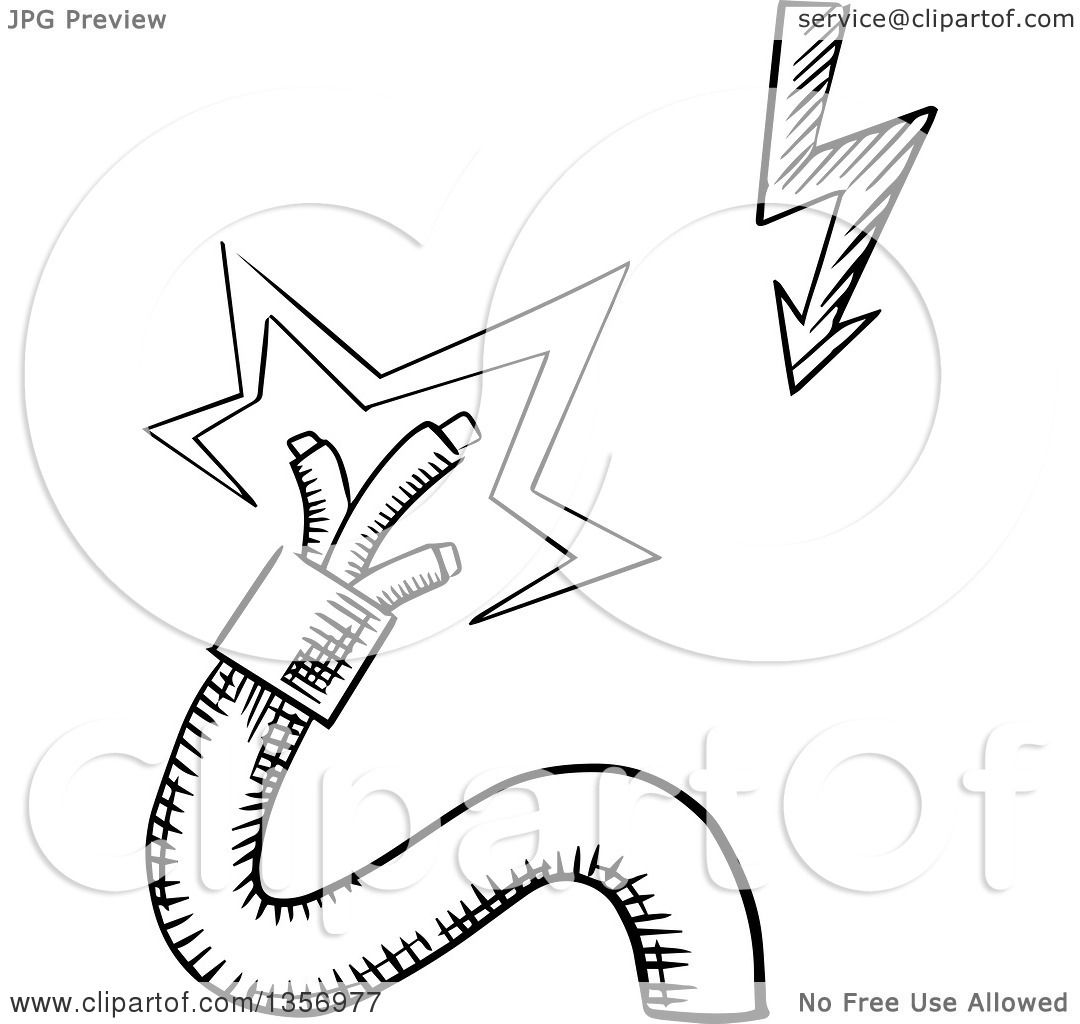 clipart of a black and white sketched broken electrical power cable with sparking wires and