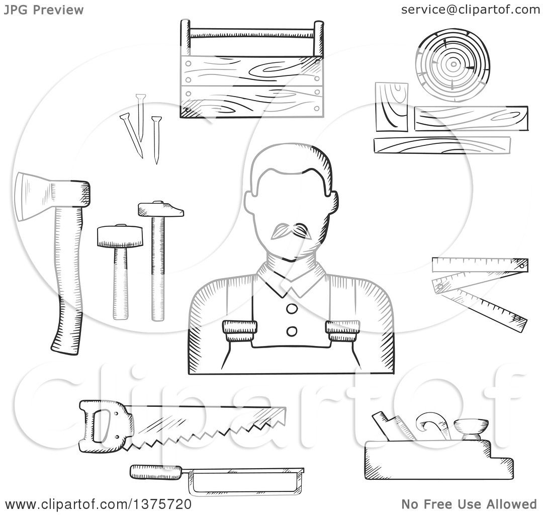 Clipart of a Black and White Sketched Carpenter with Tools ...  Clipart of a Bl...