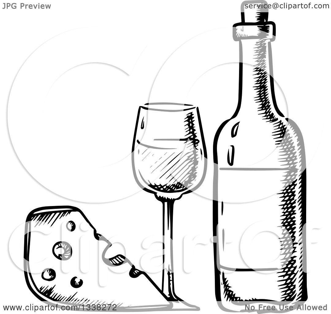 Red wine and cheese characters Royalty Free Vector Image