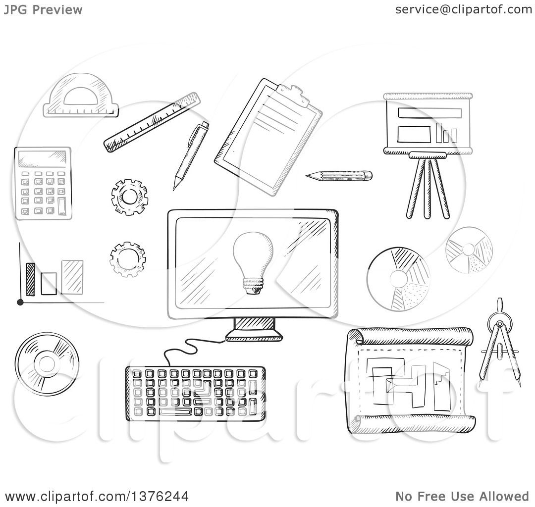 Clipart of a black and white sketched desktop computer surrounded by clipart of a black and white sketched desktop computer surrounded by icons of board blueprint graphs calculator and a light bulb on the screen royalty malvernweather Images