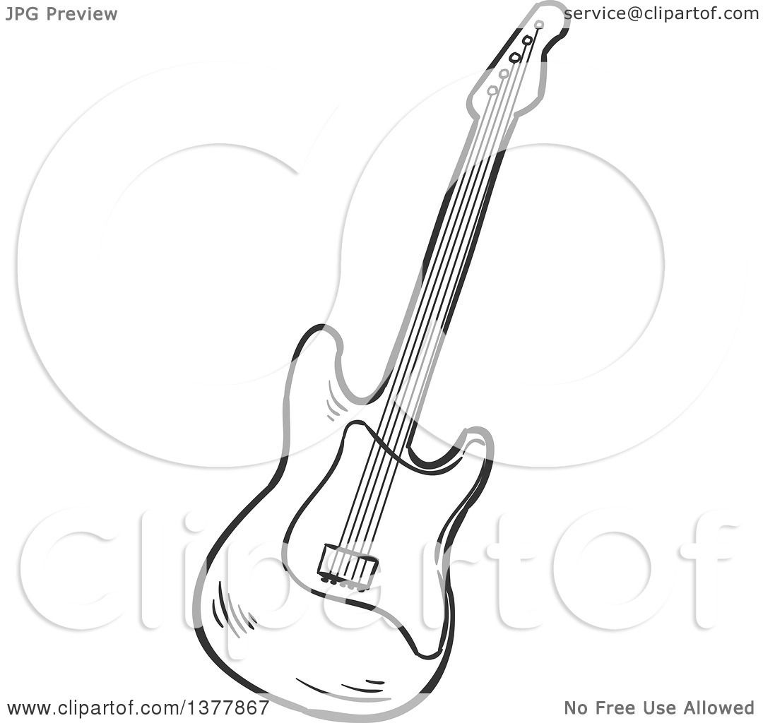 clipart of a black and white sketched electric guitar