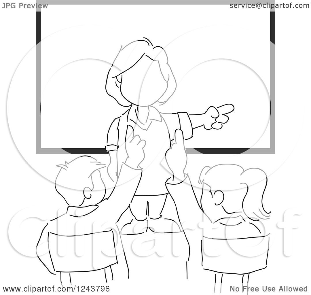 Clipart Of A Black And White Sketched Female Teacher And
