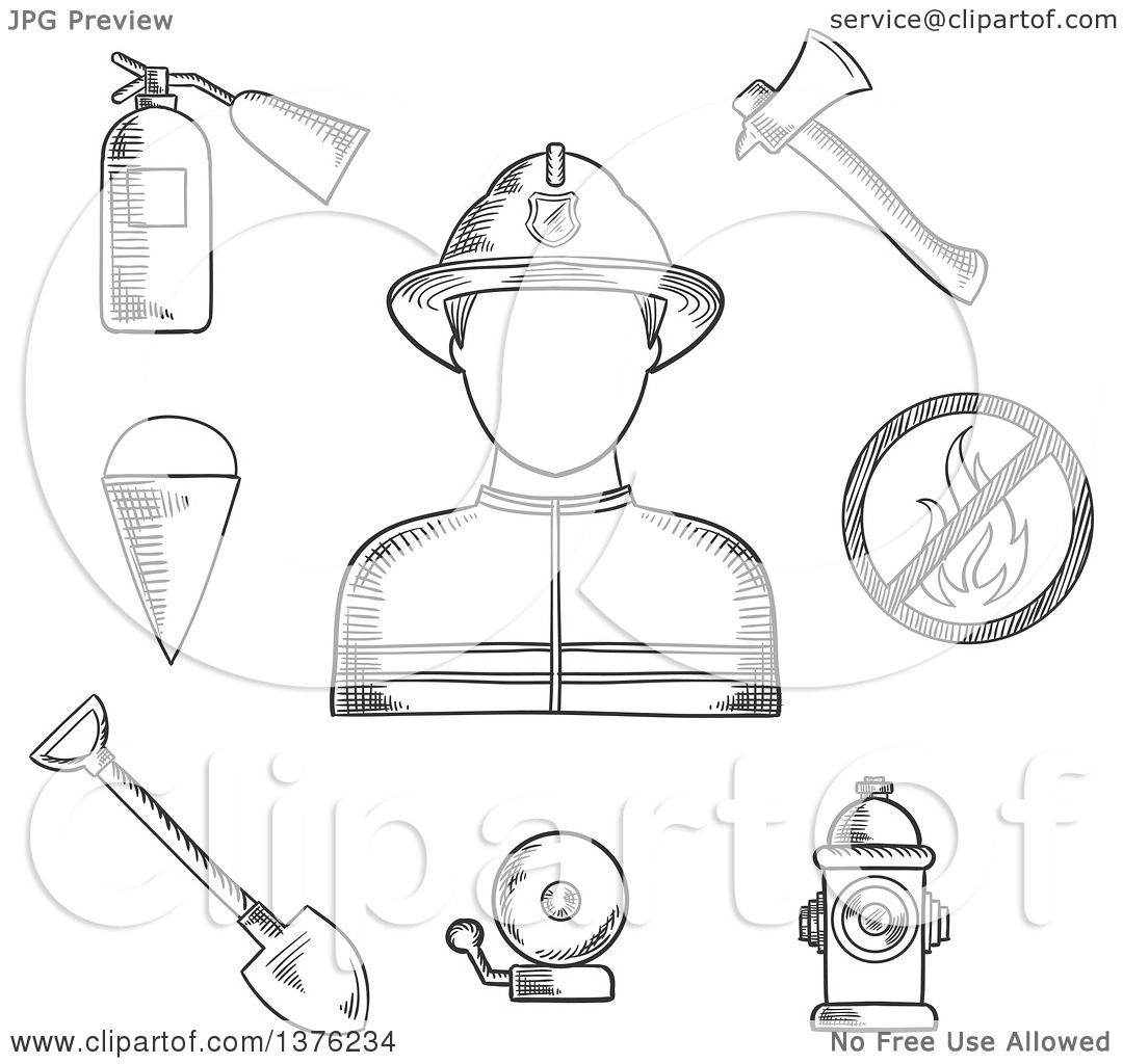 Clipart of a Black and White Sketched Fireman Flanked by Fire Axe ...